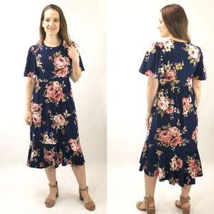 NEW Melanie Floral Dress - Navy